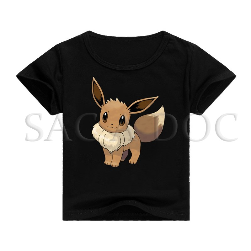 Pokemon Eevee 3D Print Kids T Shirt Baby Boys Girls cartoon T-shirt Hip Hop Short Sleeve Tee Shirts Children Clothes image