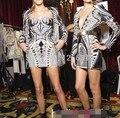 Runway nueva moda de alta calidad delgada atractiva de lujo señoras sequined dress strapless beads vaina bodycon partido lápiz dress ns89