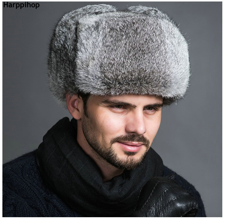 High Quality Mens 100 Real Rabbit Fur Winter Hats Lei Feng hat With Ear Flaps