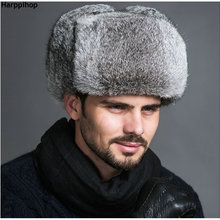 HARPPIHOP Mens 100% Real Rabbit Fur Winter Lei Feng hat With Ear Flaps Warm  Bomber 6d0404976252