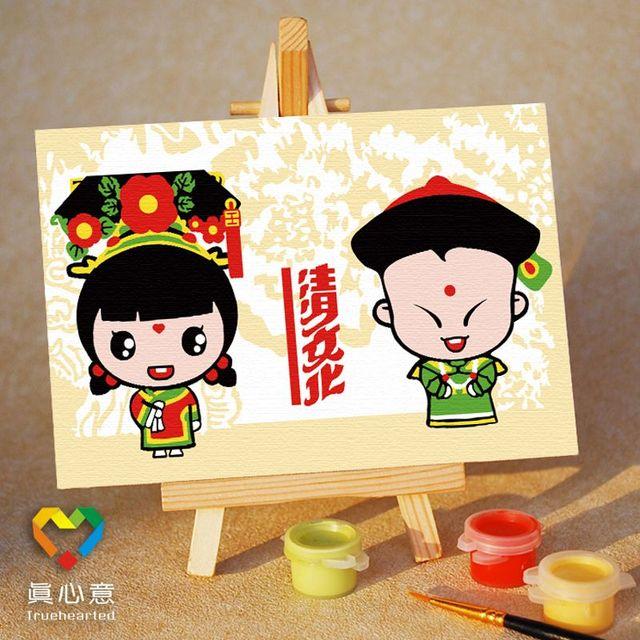 Diy digital oil painting mini cartoon painting lucky - 10 15 belt easel