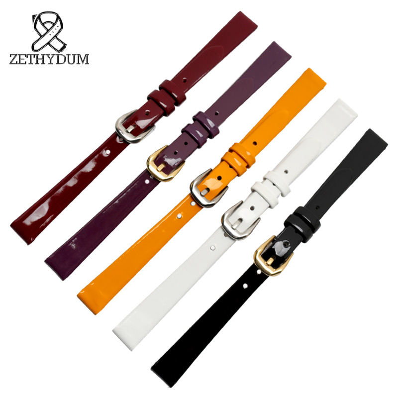 Watchband 6mm 8mm 10mm Quality Genuine Leather Watch Strap High Gloss Paint With Adapter For Women Watch Accessories