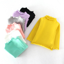 Children T shirt for Girls Spring Autumn Turtleneck Baby Girls T-shirts Candy Color Long Sleeve Cotton Girls Tops BC201