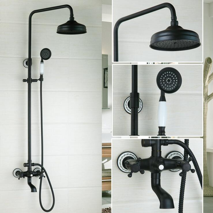 Aliexpress Oil Rubbed Bronze Shower Faucet Set Head Antique Rain Bathtub And Bathroom Wall Mount Black