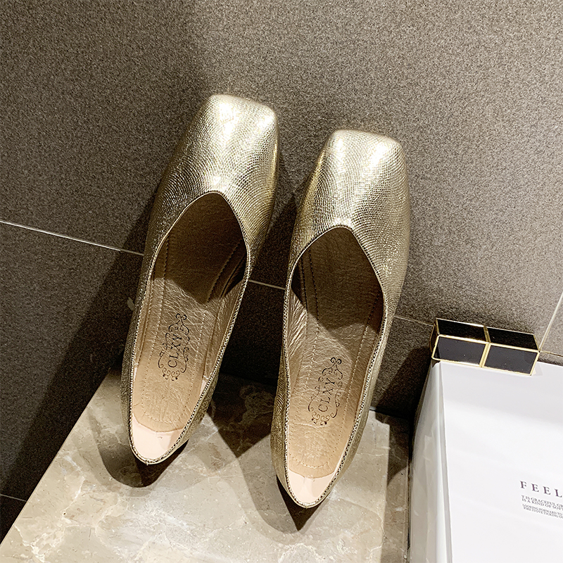 Bling Gold Flats Shoes Women Soft Slip On For Party Fashion Boat Ladies Bright Glitter 2019
