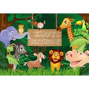 Image 3 - Allenjoy 사진 정글 생일 파티 숲 배경 야생 동물 사파리 파티 나무 배경 사용자 정의 어린이 photophone