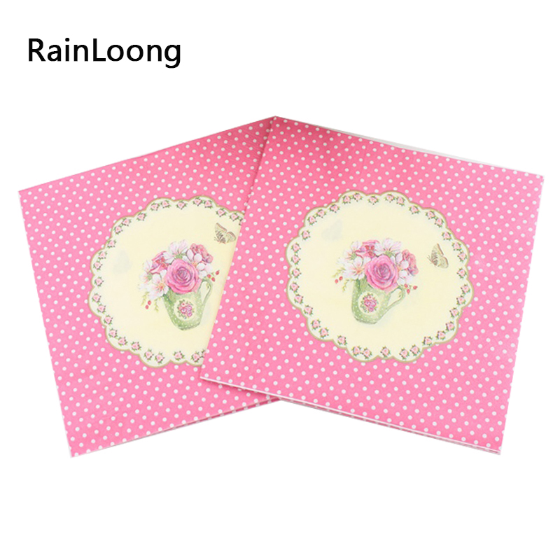 Rainloong pink flower paper napkins 2 ply festive party tissue rainloong pink flower paper napkins 2 ply festive party tissue dinner serviette guardanapo 33cm33cm 20pcspacklot mightylinksfo