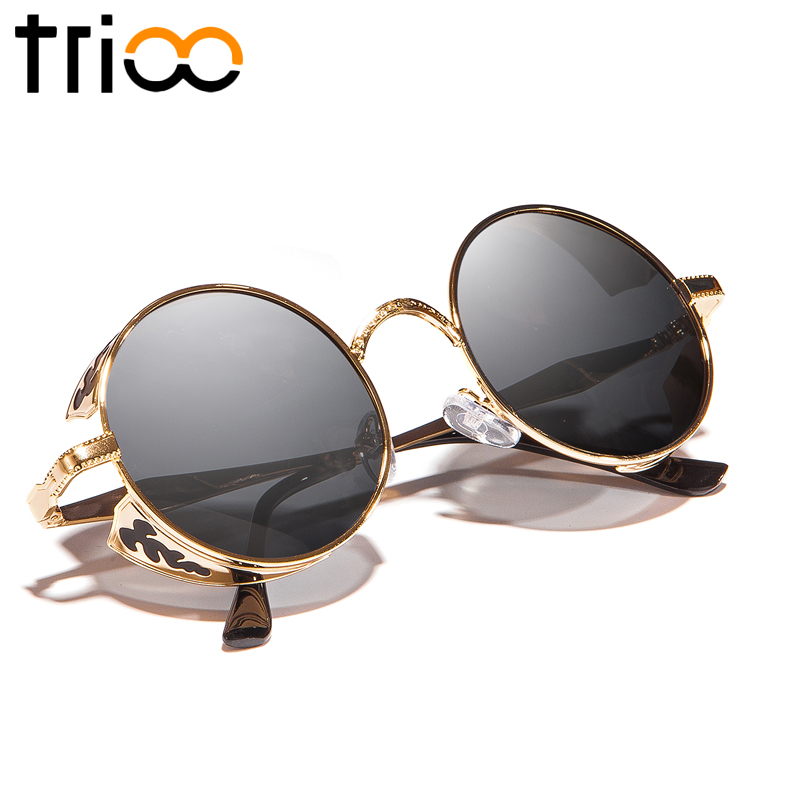 TRIOO Round Steampunk Sunglasses Men Polarized Driving Sun Glasses for Men Ukiran Logam Punk Shades Driver Vintage Glasses Lelaki