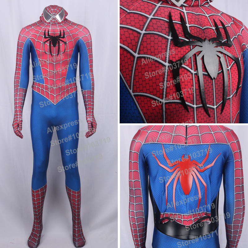 High Quality 3D Raimi <font><b>Spider</b></font> <font><b>Man</b></font> <font><b>Costume</b></font> <font><b>Spider</b></font> <font><b>Man</b></font> Spandex Suit Raimi Spiderman 3D <font><b>Costume</b></font> <font><b>Adult</b></font> Spiderman Suit