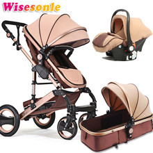 Wisesonle 2019 now baby stroller 2 in 1 stroller lying or dampening folding light weight two-sided child four seasons Russia fre(China)