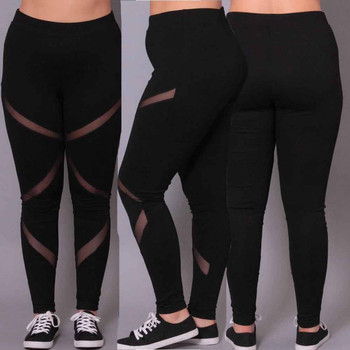 New Plus Size XXL XXXL 4XL Solid Women Leggings Mesh Patchwork School Exercise Leggins Female Elastic Pant Capri Women 1
