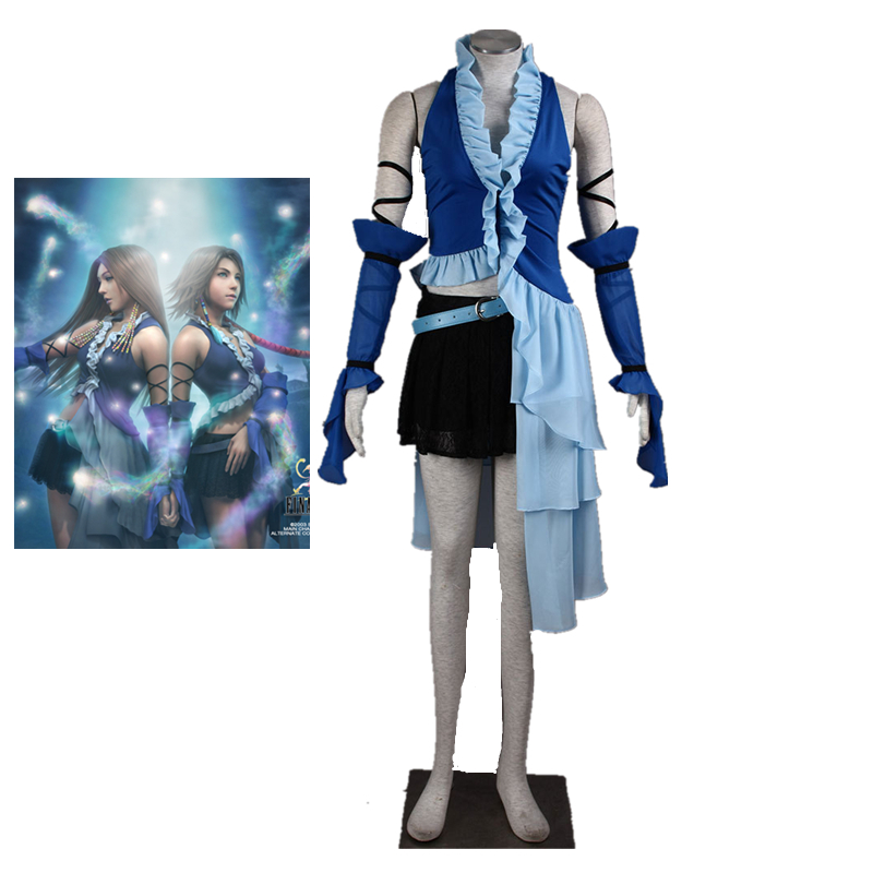 Anime Final Fantasy Cosplay - Final Fantasy X 10 Yuna Lenne Song Cosplay Costumes Yuna Costume With Earrings * 4 and Necklace image