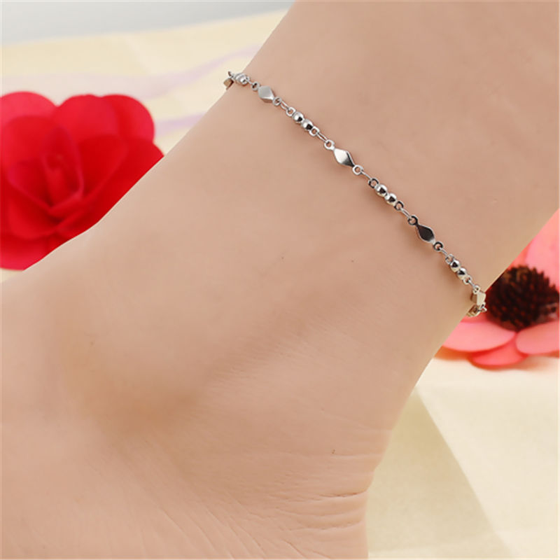 Simple Stainless Steel Chain Anklet For Women Rhombus Ankle Bracelet On the Leg Foot Jewelry Gift 23.7cm - 22cm Long, 1PC