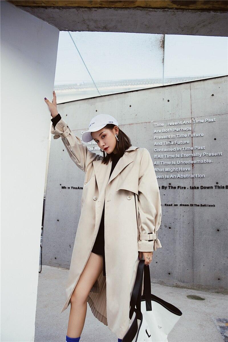 "British style Long Sleeves Autumn pleated coats women""s Long sleeve windbreaker overcoats abrigo mujer 15"