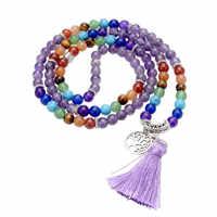 7 Ayliss 1 pc Mais Novo 6mm Natural Cristal Gem Stone Cura Chakra Budista 108 Contas de Oração Mala Tibetano Pulseira colar Borla