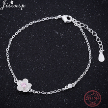 цены Jisensp 925 Sterling Silver Charm Bracelet & Bangle Wedding Jewelry Cherry Daisy Flower Chain Link Women Bracelet Party Gifts
