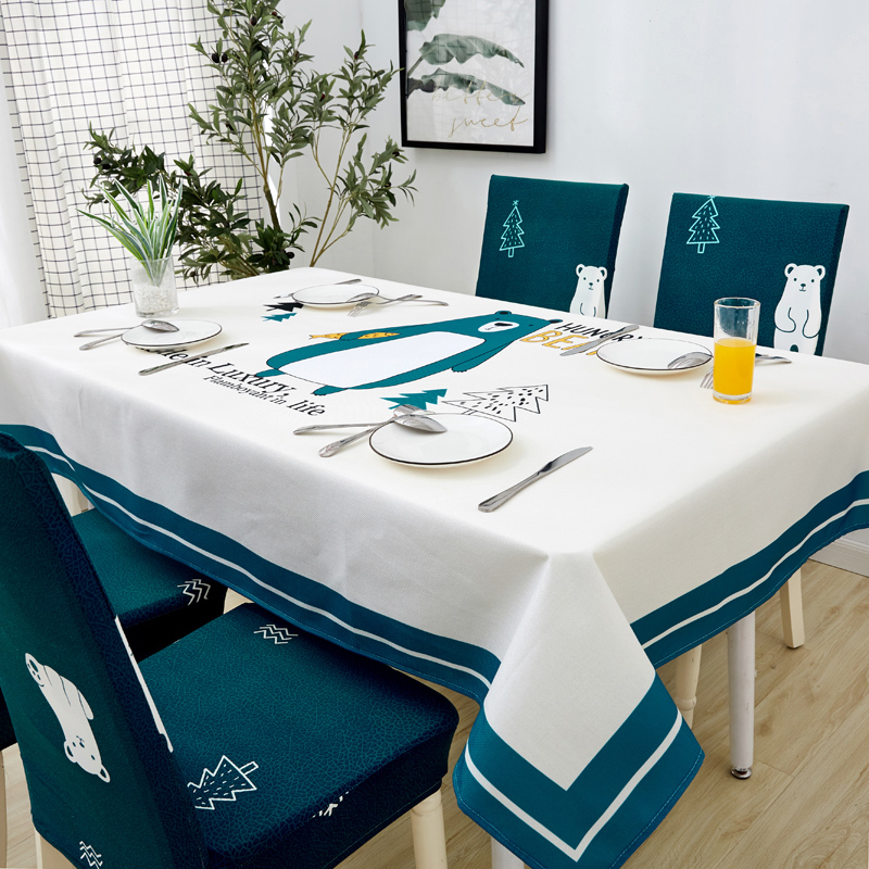 Image 2 - Parkshin Modern Cartoon Bear Tablecloth Home Kitchen Rectangle Decorative Table Cloths Party Banquet Dining Table Cover 4 Size-in Tablecloths from Home & Garden