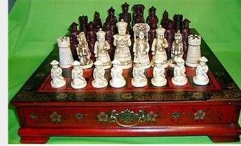 Bronce Puro Chino Antiguo 32 unidades Caja Madera juego de ajedrez y...