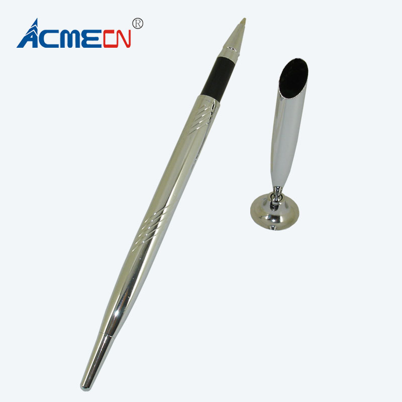 ACMECN Ballpoint Pen with Base for Teachers Table Pen sets Silver Ball Pen with Stand Classic Office Accessory Bank Desk Pen set