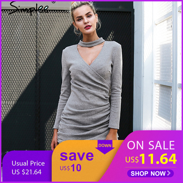 2abe09fe7 Simplee Sexy halter v neck winter sweater dress women Ruched long ...