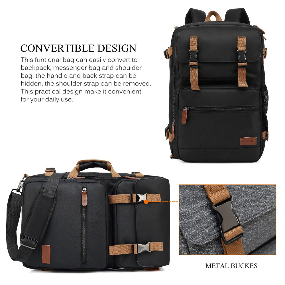 Mochila Convertible bolso de mensajero bolso de hombro Maletín de negocios mochila de viaje bolso multifunción bolsos de ordenador portátil 17,3 17 - 3