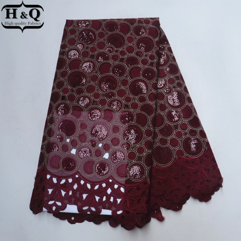 Burgundy African Organza Lace New Arrivals African Lace Fabric With Sequins 2018 Swiss Voile Lace France