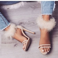 Shoes Sandals Woman 2018 Transparent PVC Patchwork Sexy Peep Toe Heels Sandals Fashion Fur Decor Gladiator High Heels Shoes