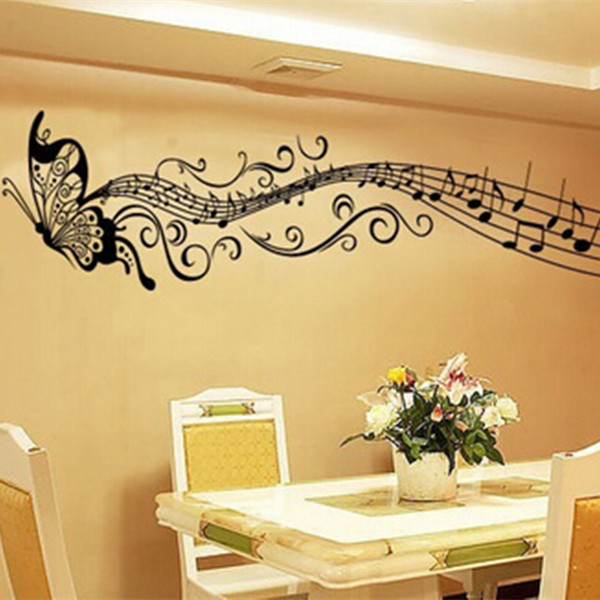 Butterfly Music Note Wall Art Vinyl Quote Removable Sticker Decor ...