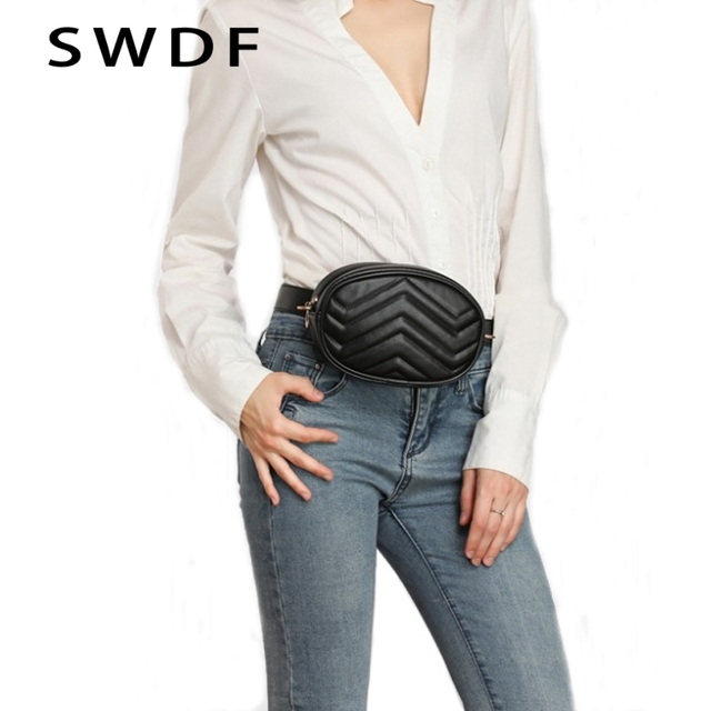 SWDF 2018 New Fashion High Quality Waist Bag Women Waist Fanny Packs Belt Bag Luxury Brand Leather Chest Handbag Red Black Color