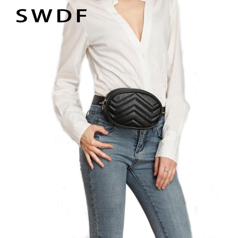 SWDF 2020 New Fashion High Quality Waist Bag Women Waist Fanny Packs Belt Bag Luxury Brand Leather Chest Handbag Red Black Color