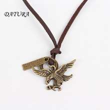 Men's Women's Unisex Circle   Fashion  Eagle Wings Charm Pendant Brown Genuine Leather Necklace Cord.