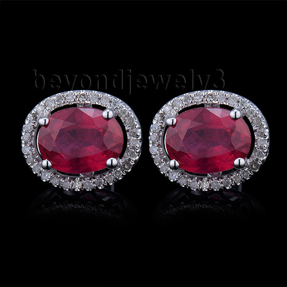 14Kt White Gold Diamond Earrings, Ruby Stud Earrings Fine Jewelry, Natural Ruby Earrings For Women E003