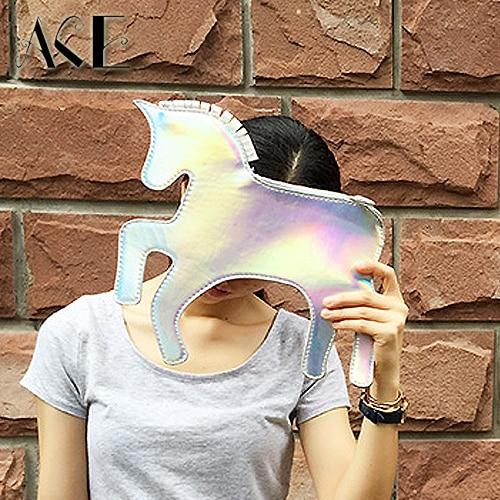 Noua moda de design retro sac de seara ambreiaj Laser Unicorn - Genți