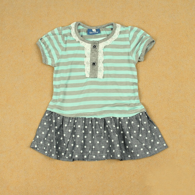 Summer female child o-neck 100% thin cotton short-sleeve dress lace stripe polka dot water blue