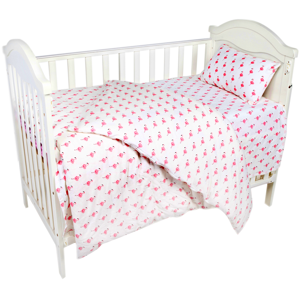 AINAAN 3 Pcs 100% Cotton Crib Bed Linen Kit Flamingo For Girls Baby Bedding Set Includes Pillowcase Bed Sheet Duvet Cover flamingo linen placement