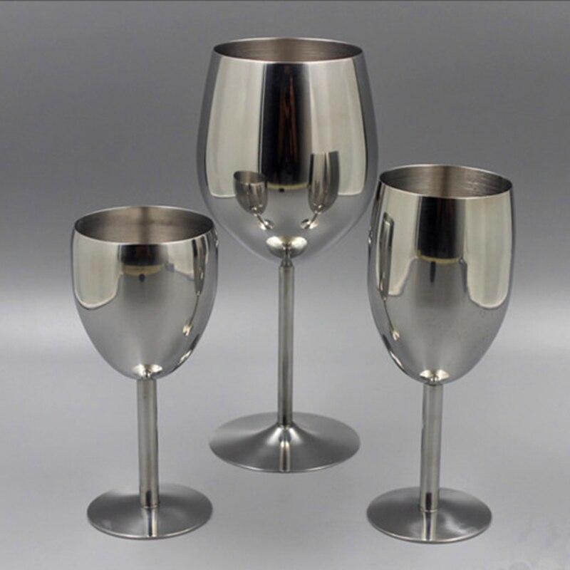 2 pçs copos de vinho clássico aço inoxidável 18/8 wineglass bar vinho copo champanhe cocktail beber encantos fontes festa