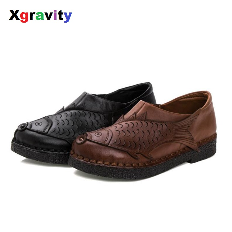 Xgravity Spring Autumn Genuine Leather Woman Fashion Round Toe Casual Shoes 3D Fish Design Lady Comfortable Handmade Shoes S029 цены онлайн