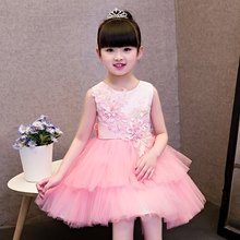 2017 New Children Ceremonial Princess Pink Lace Dress Girls Wedding Bridal Birthday Party Dresses Costume Teenager Prom Designs