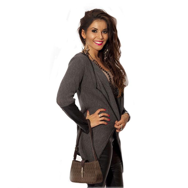 2017 Fashion Thin Cardigan PU Leather Knitted Patchwork Long Sleeve sweater font b Women b font
