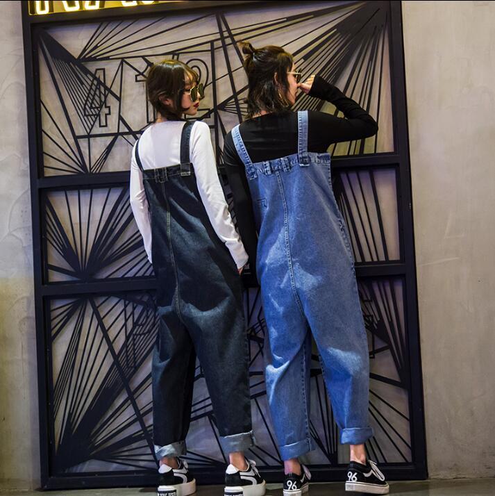 Versión Harén Alta Pantalones Nueva Gran Tamaño Negro Estudiante Otoño Herramientas 2018 Babero Suelta Femenino azul La Y Cintura Denim Pieza Primavera De 468pxH