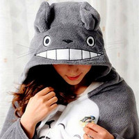 2017 Cosplay Totoro Lovely Plush Soft Cloak Totoro Cape Cat Cartoon Cloak Coral Fleece Air Blankets
