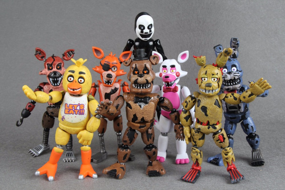 Original Five Nights At Freddy's figure FNAF Bonnie Foxy Freddy Fazbear Bear Doll PVC Action Toy Figures wholesale five nights at freddy s 4 fnaf freddy fazbear bear foxy plush toys doll kids birthday gift