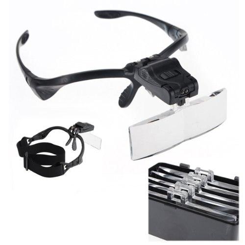 Lupe brillen 2 Led 1X1,5X2X2,5X3,5 X juwelier uhrmacher DIY
