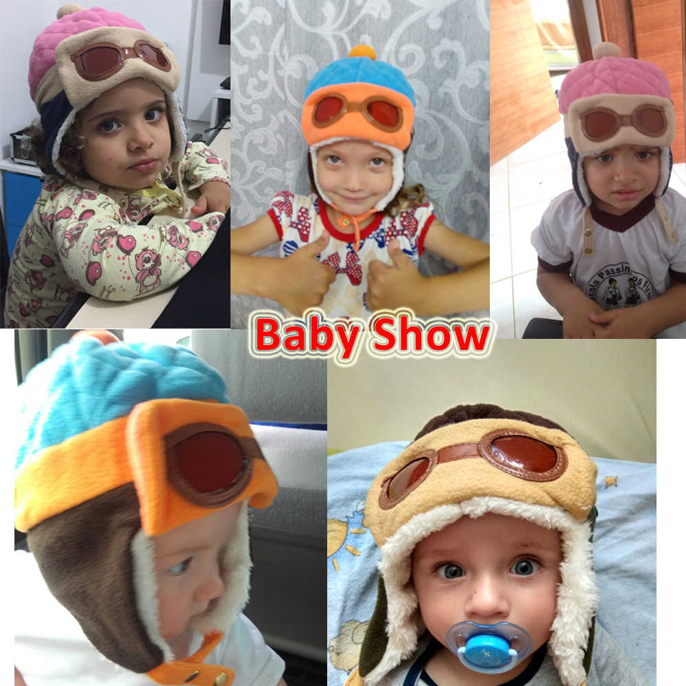 8f4d5fb0ff9e37 ... Fashion Baby Winter Autumn Spring Warm Hat Toddlers Cool Caps Boy Girl  Pilot Cute Beanie Caps