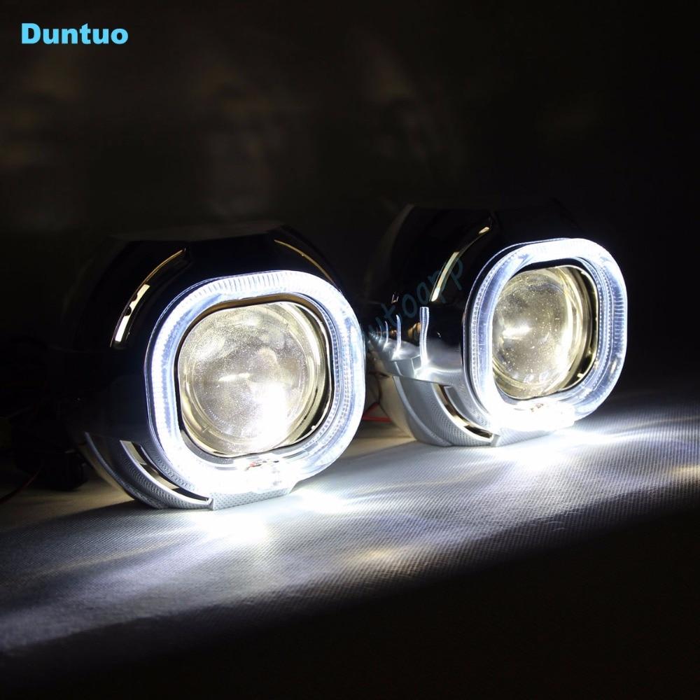 led car headlights angel eyes auto lens headlight drl hi lo beam lamp h4 q5 h5 led light. Black Bedroom Furniture Sets. Home Design Ideas