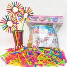 256 pcs varas de inteligência do bebê de plástico blocos de construção de brinquedos educativos feitos à mão diy aprendizagem precoce presentes menino e uma menina