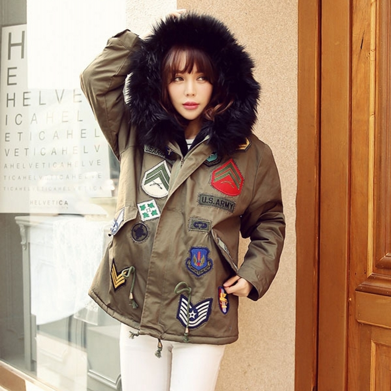 ФОТО Winter The From Stars You Large Army Green Cotton Thick Fur Collar Female badge armyg green Jacket artificial fur parkas