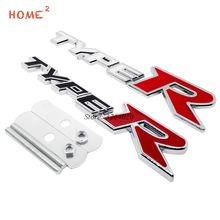 For Type R Logo 3D Car Styling Front Stickers Metal Grille Emblem Badge for Honda civic accord crv fit jazz city hrv Crosstour