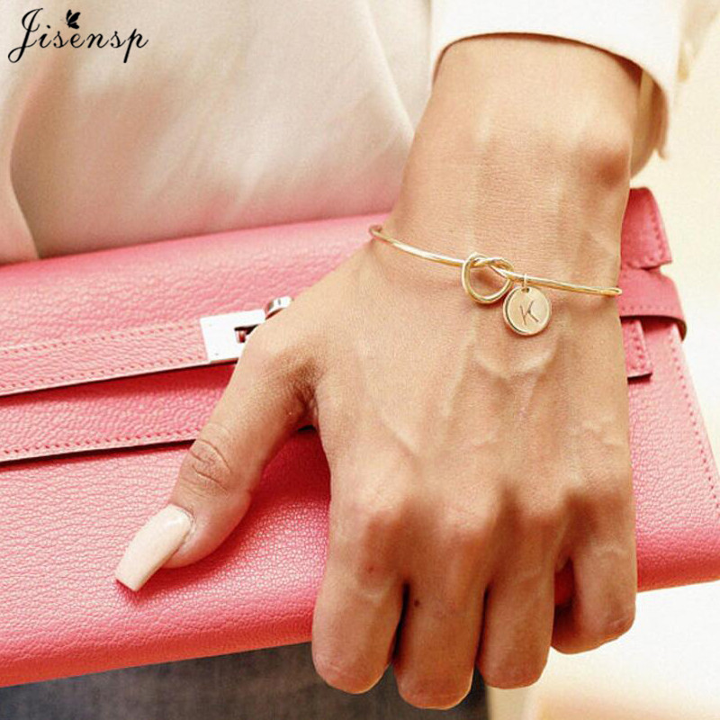 Jisensp Trendy Tie Knotted Open Cuff Bangle Rose Gold Sliver Coin 26 Letters Initial Charm Bracelets Wire Love Bangles For Women