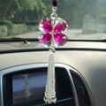 Фэншуй розовый кристалл четыре листа клевера салона автоаксессуары шармов для авто зеркало заднего вида подвеска